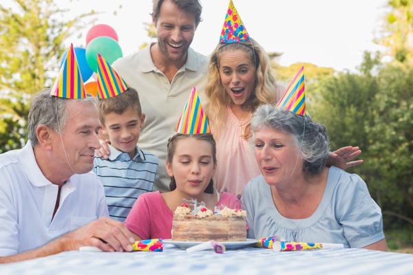 Family celebrates granddaughters birthday.